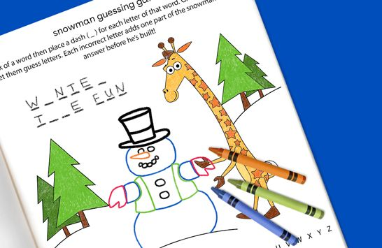 'snowman guessing game free printable from Toys R Us