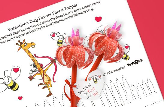 Valentine's Day flower pencil topper