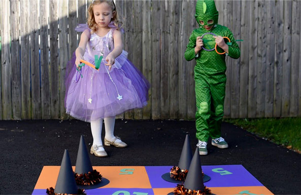 Halloween ring toss diy activity for kids