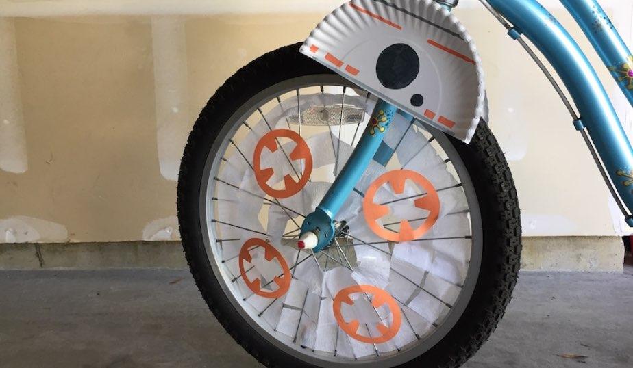 kids bike wheel with BB-8 DIY design complete