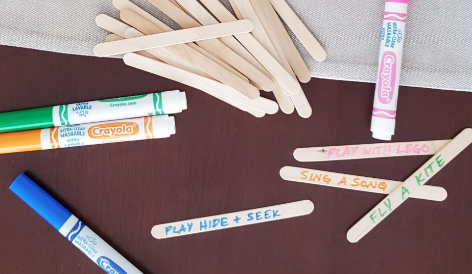 activity names written on popsicle sticks
