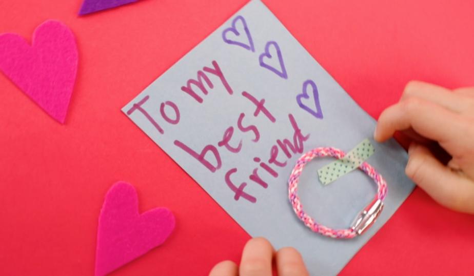 handmade valentine's day card and friendship bracelet
