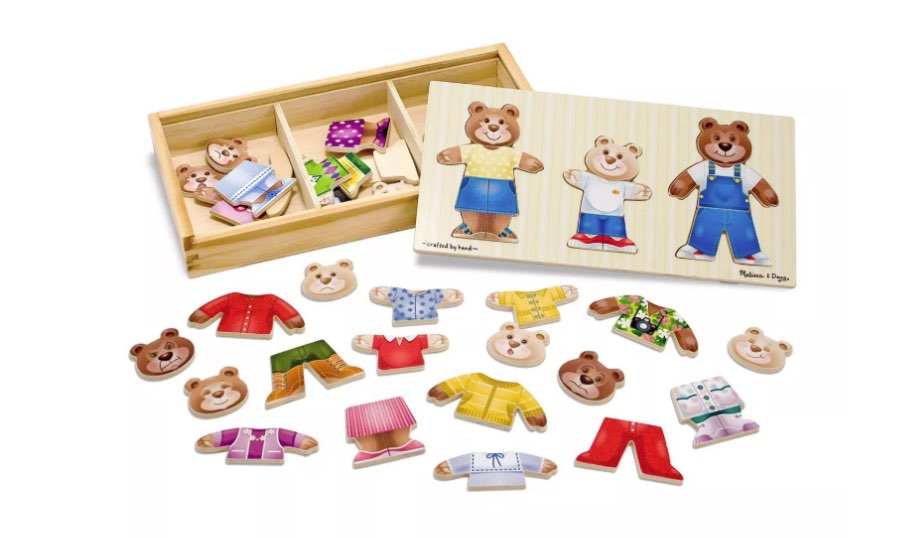 Mix 'n Match Wooden Bear Family Dress-Up Puzzle with Storage Case — Melissa & Doug