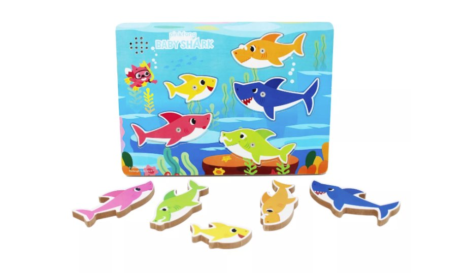 Pinkfong Baby Shark Chunky Wooden Sound Puzzle 5pc — Cardinal