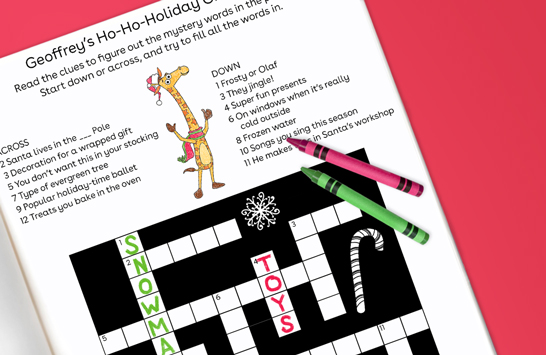 solve Geoffrey's ho-ho-holiday crossword puzzle