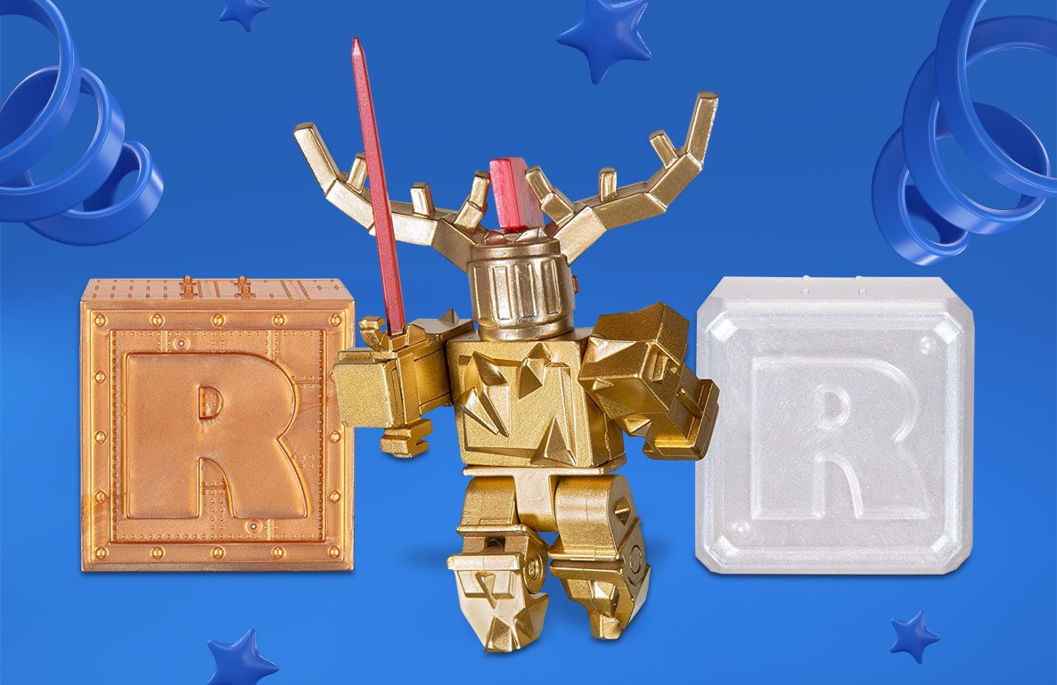 Roblox Celebrity Collection – Fantastic Frontier: Gold Corrupted Knight + Two Mystery Figure Bundle