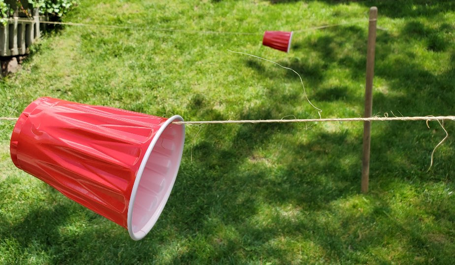 red plastic cups float on string above the lawn