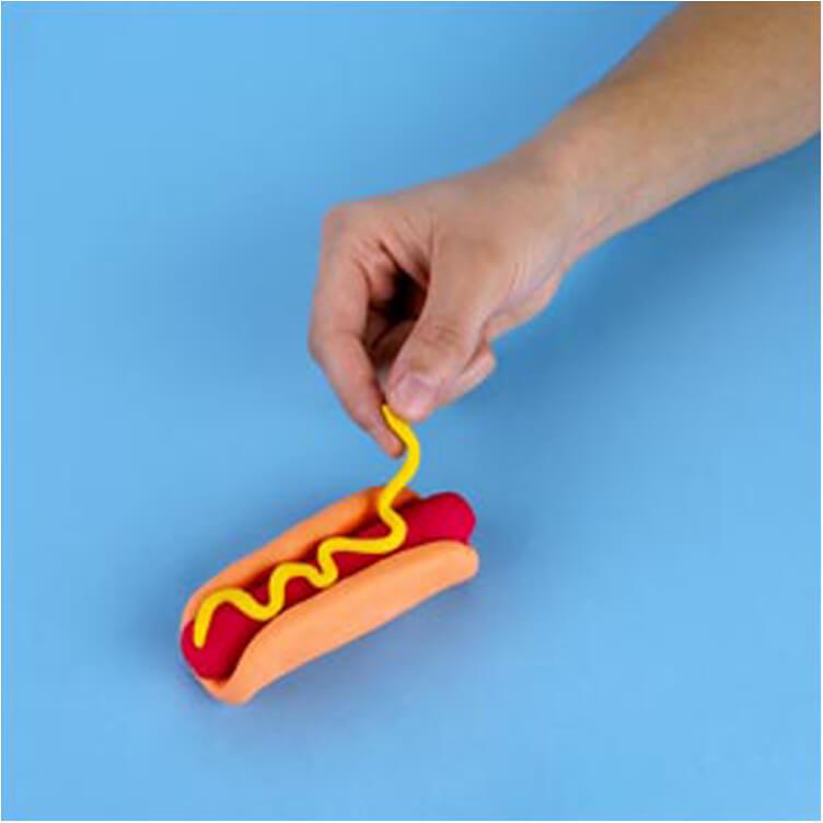 how to make a pretend hotdog with PlayDoh dough compound step three