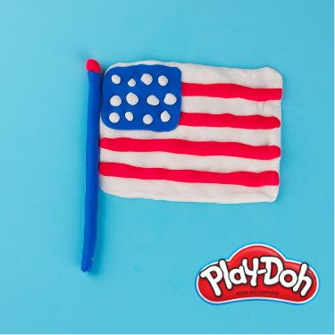 Play-Doh how-to make an American Flag step four