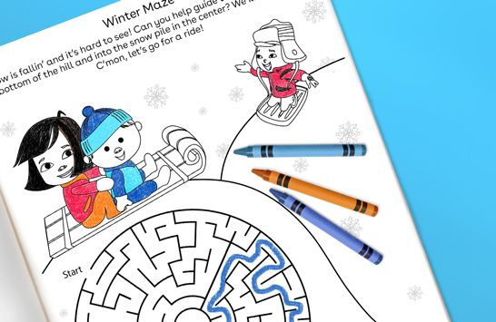 Winter Maze free printable from Toys R Us