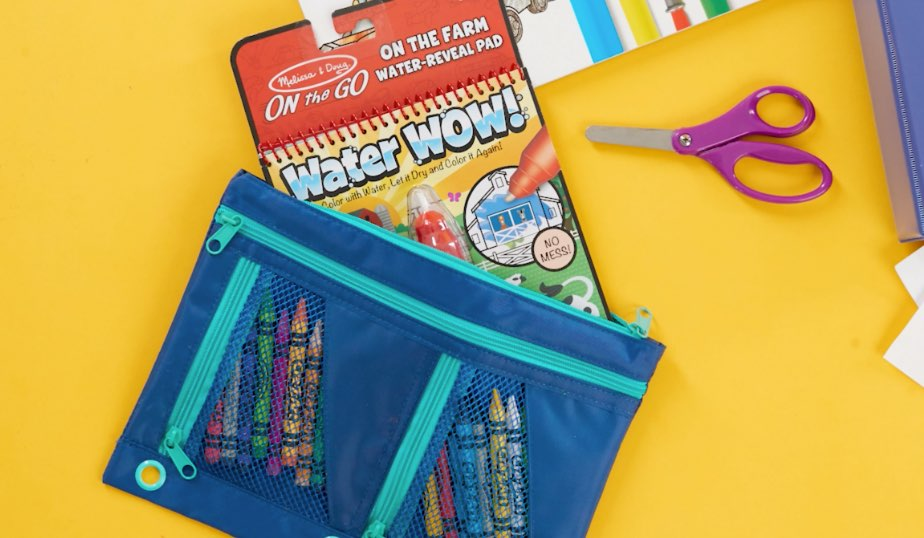 pack pouch with crayons and Melissa & Doug water wow reveal pad