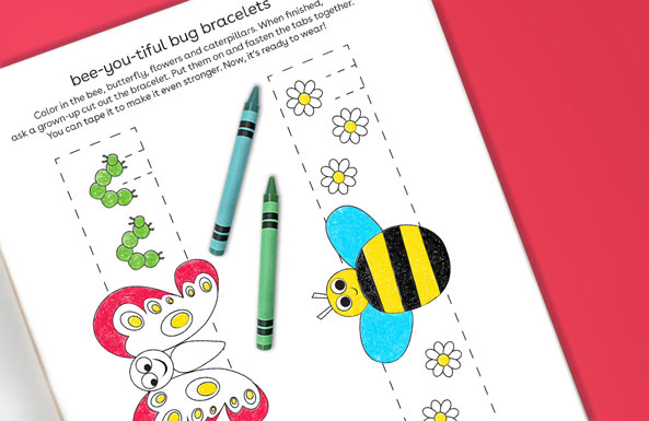 bee-you-tiful bug bracelets free printable for kids