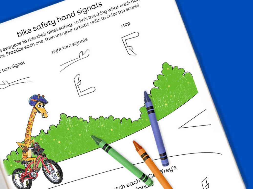 bike safety and signals free printable for kids