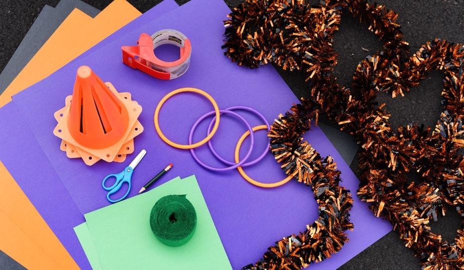flat lay of the supplies for Halloween ring toss diy activity for kids
