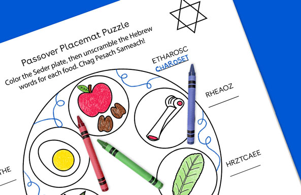 Passover Placemat Puzzle printable
