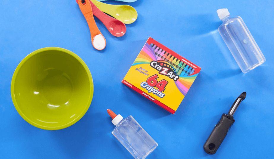bowl, clear glue, veggie peeler, baking soda, crayons