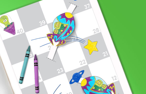 stars & rockets board game free printable for kids