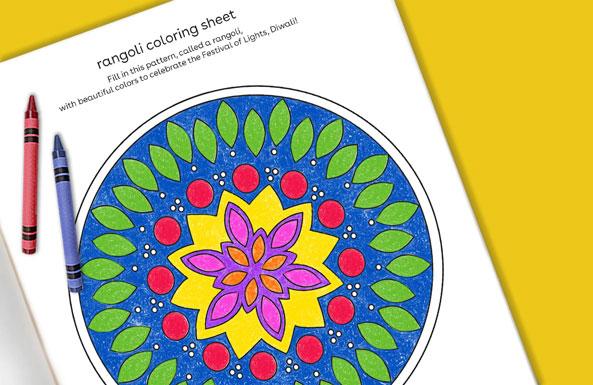 rangoli coloring sheet free printables for kids