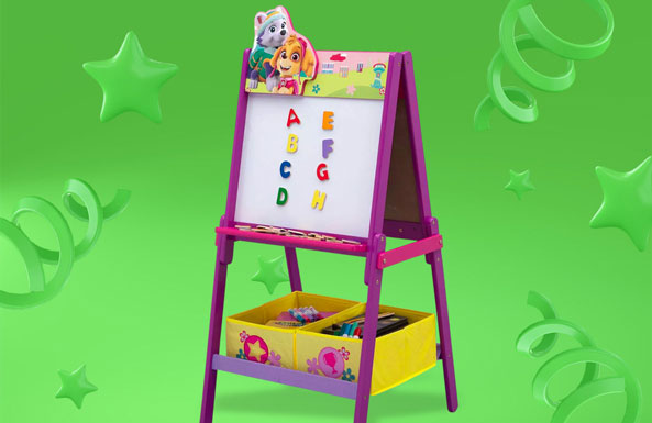 PAW Patrol Skye and Everest Wooden Double-Sided Easel with Storage