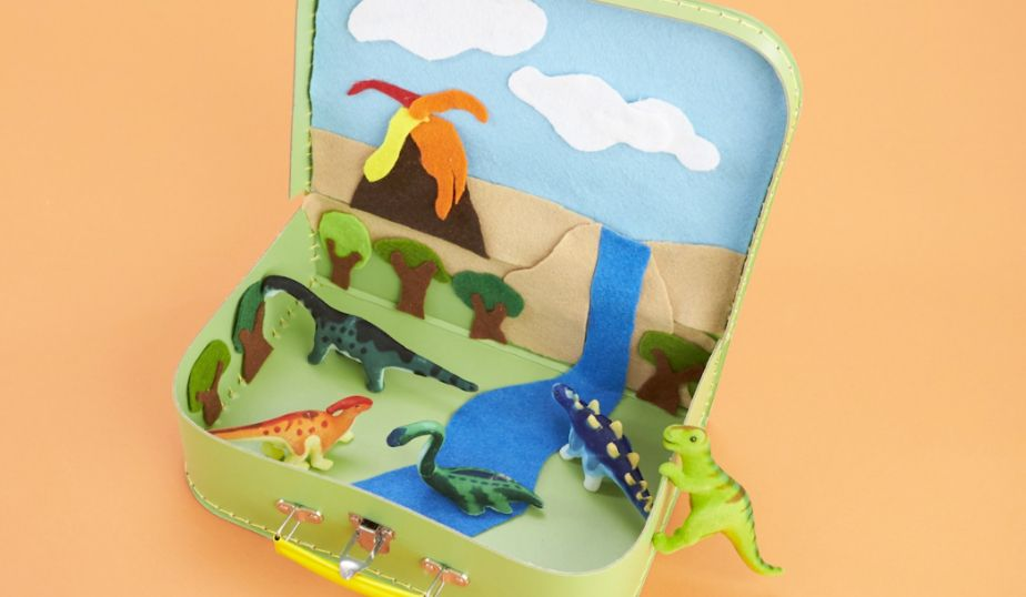 add your dinosaur toys to the travel case