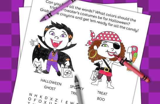 hauntingly fun word search and coloring sheet
