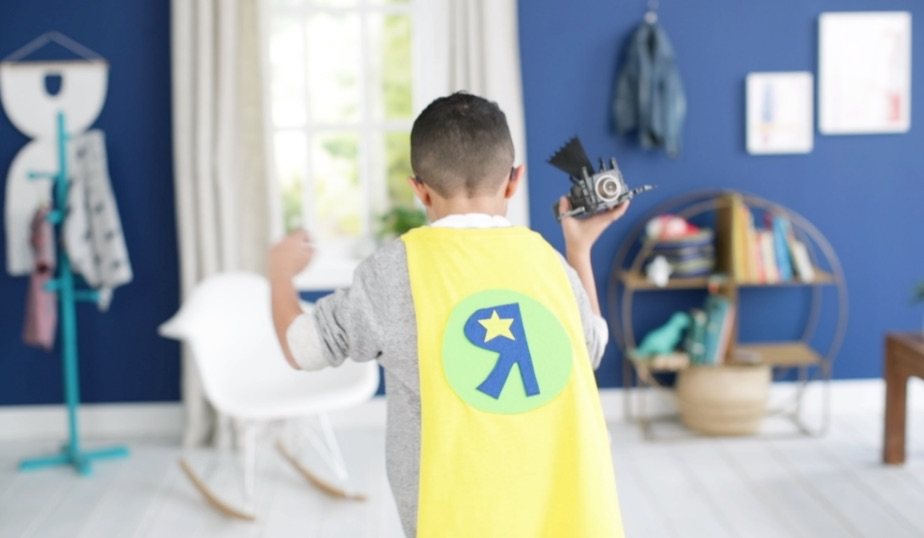 no sew superhero cape worn by little boy