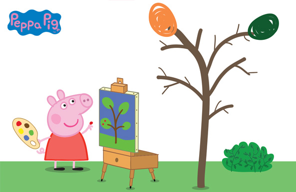 finger painting with Peppa Pig free printable for kids