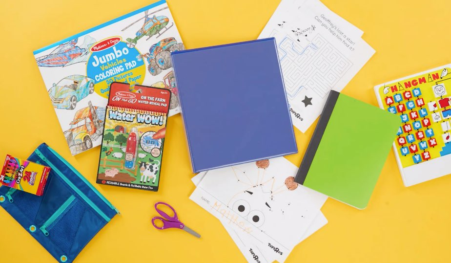 Melissa & Doug activites, binder, scissors, crayons, notebook