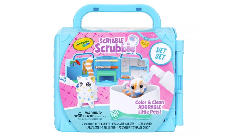 Scribble Scrubbie Pets, Vet Toy Playset with Toy Pets - Crayola