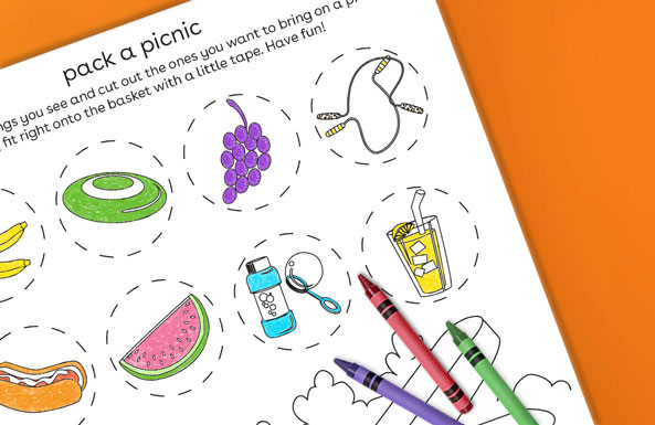 'pack a picnic coloring sheet printable for kids