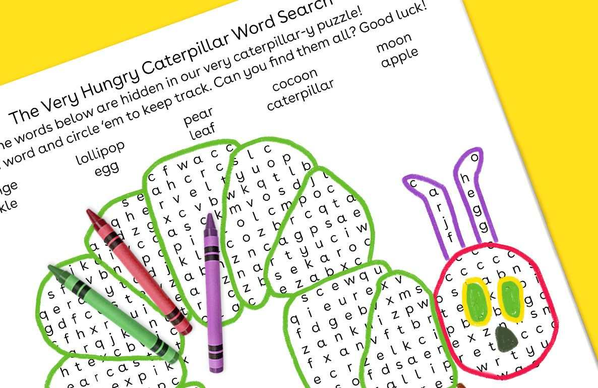 caterpillar-themed word search