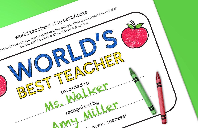 world teachers' day certificate