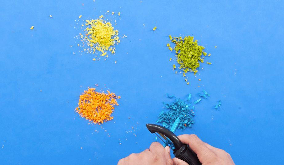 peel unwrapped crayons with veggie peeler