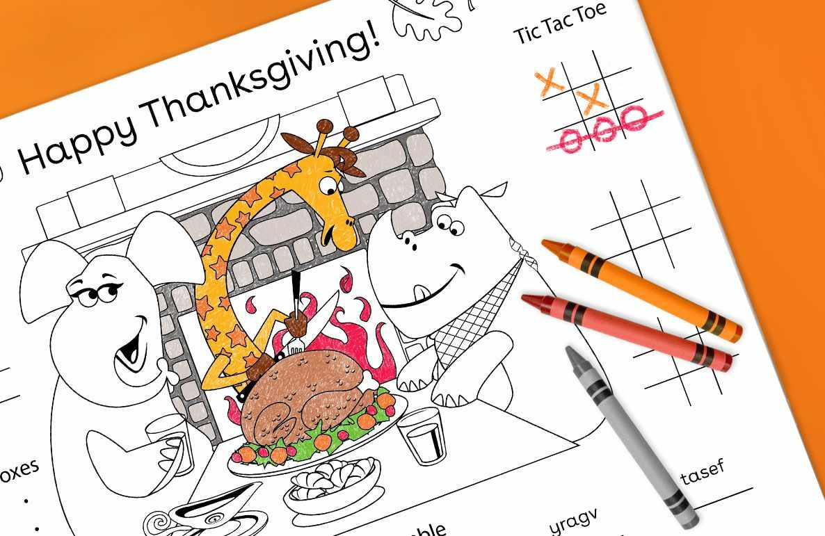 fill 'em full of fun with a Thanksgiving placemat