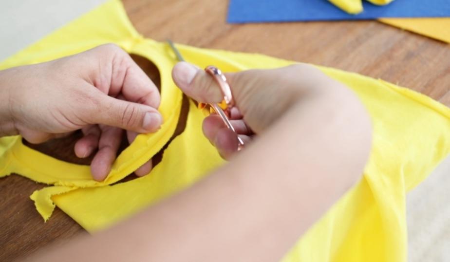 use scissors to shape the cape