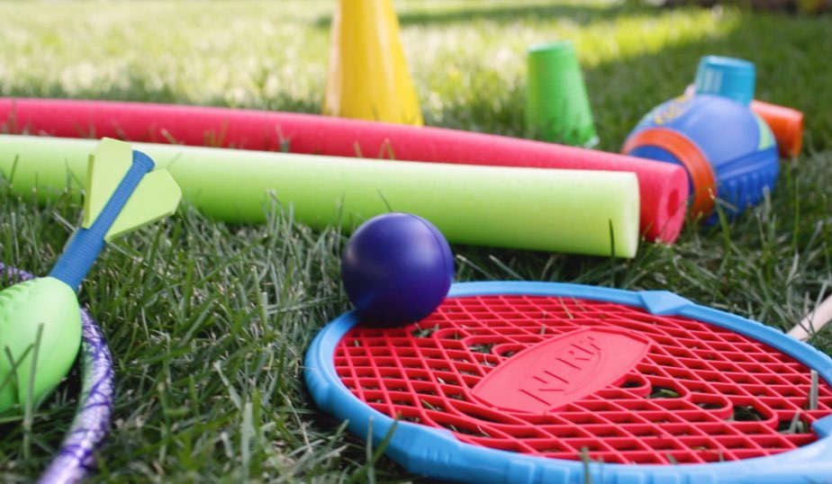cups, cones, pool noodles, Nerf toys