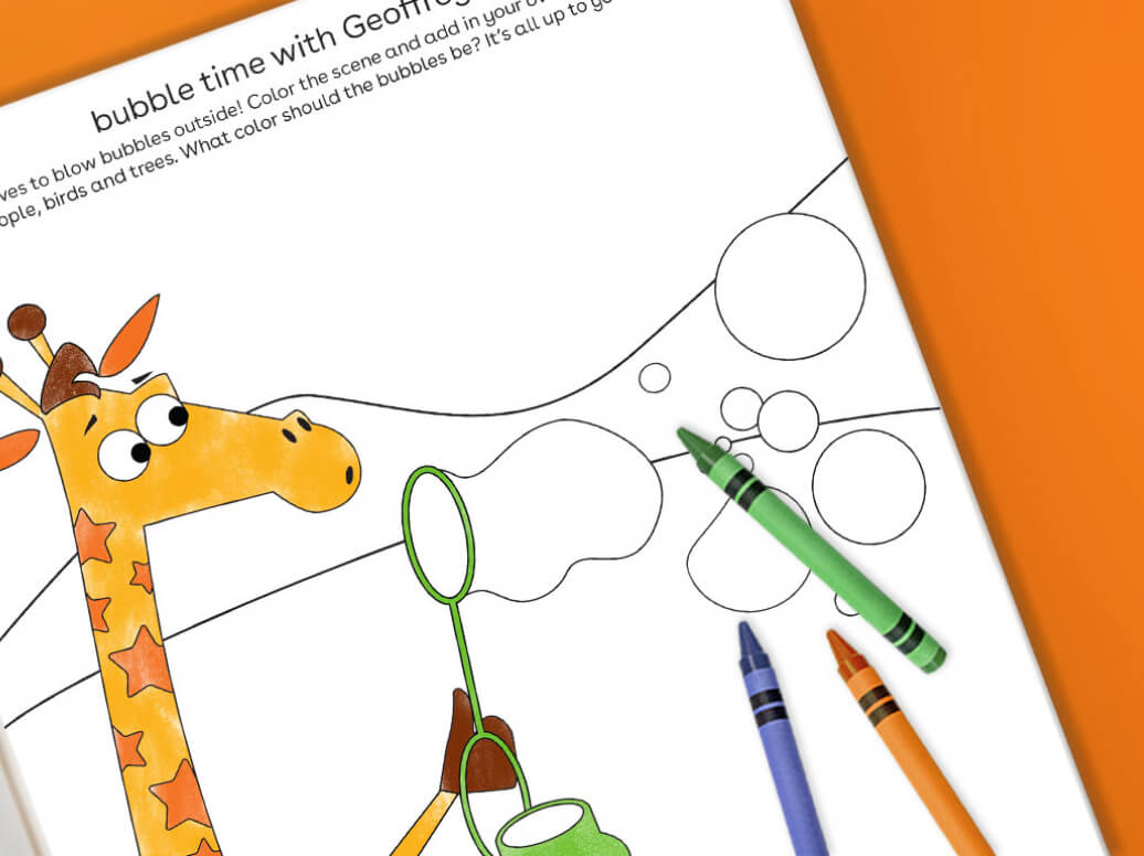 bubble time with Geoffrey free printable for kids