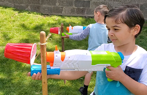 water blaster races outdoor activity for kids